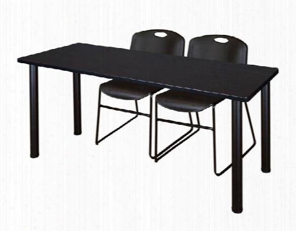 "72"" X 24"" Training Table- Mocha Walnut/ Black & 2 Zeng Stack Chairs By Regency Furniture"