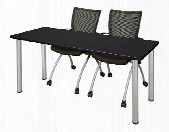"72"" X 24"" Training Table- Mocha Walnut/ Chrome & 2 Apprentice Chairs- Black By Regency Furniture"