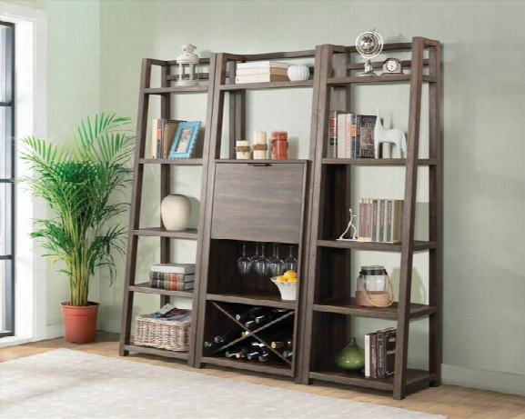 Bar Cabinet With 2 Leaning Bookcases By Riverside