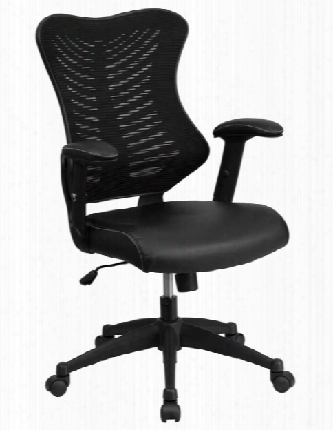 High-back Swivel Chair With Leather Seat And Adjustable Arms By Innovations Office Furniture