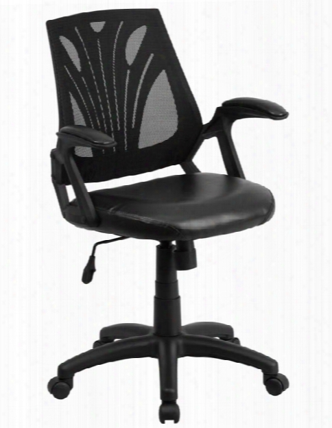 Mid-back Mesh Swivel Chair With Leather Seat & Arms By Innovations Office Furniture
