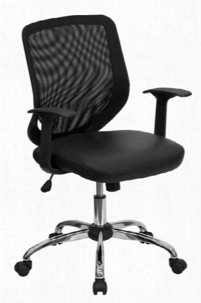 Mid-back Mesh Swivel Chair With Leather Seat And Arms By Innovations Office Furniture