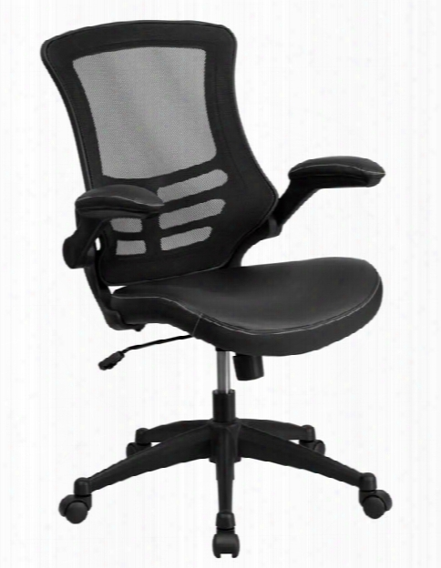 Mid-back Mesh Swivel Chair With Leather Seat By Innovations Office Furniture