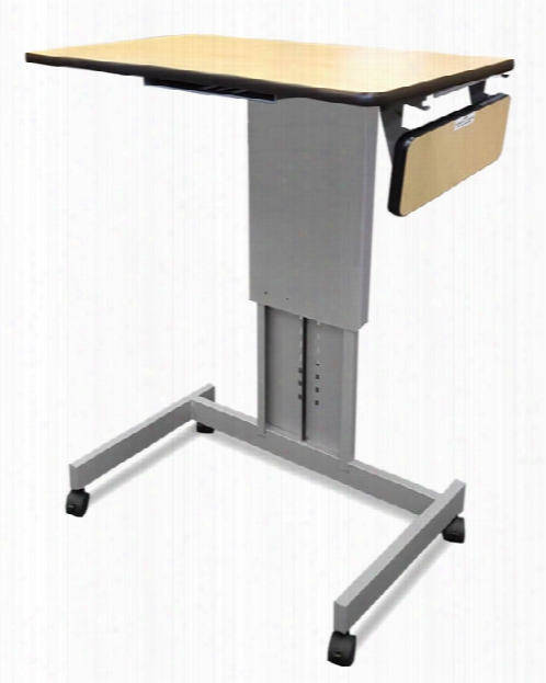 Mobile Focus Xt Adjustable Height Desk With Side Shelf By Marvel