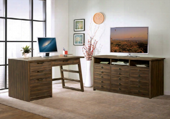 Single Pedestal Desk With Entertainment File Cabinet By Riverside