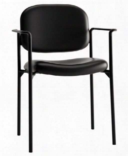 Stacking Leather Guest Chair With Arms By Hon