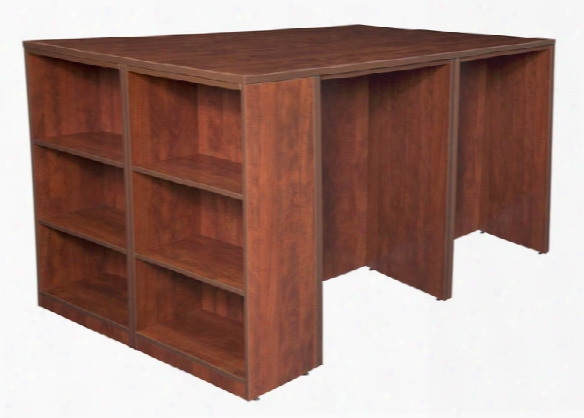 Stand Up 2 Desk/ Storage Cabinet/ Lateral File Quad With Bookcase End By Regency Furniture