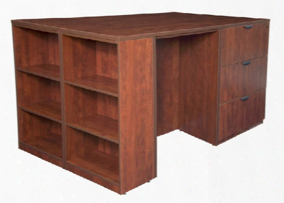 Stand Up 2 Lateral File/ 2 Desk Quad With Bookcase End By Regency Furniture