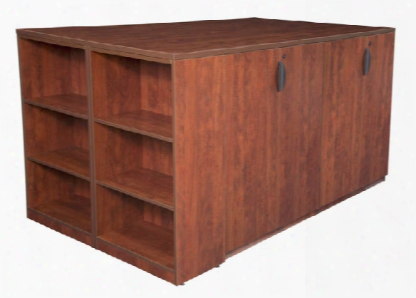 Stand Up 2 Storage Cabinet/ 2 Desk Quad With Bookcase End By Regency Furniture