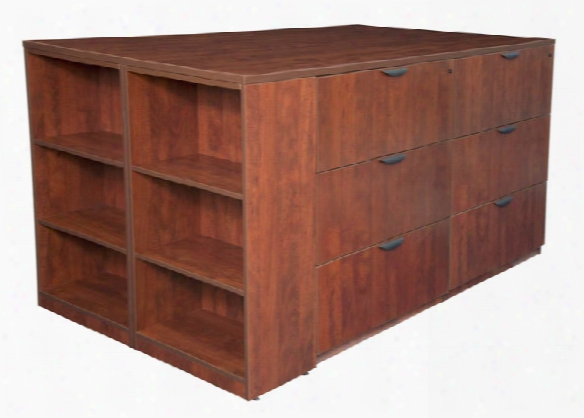 Stand Up 2 Storage Cabinet/ 2 Lateral File Quad With Bookcase End By Regency Furniture
