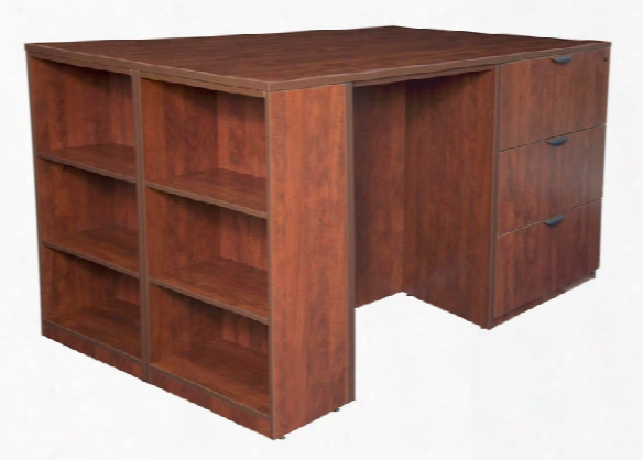 Stand Up 2 Storage Cabinet/ Lateral File/ Desk Quad With Bookcase End By Regency Furniture