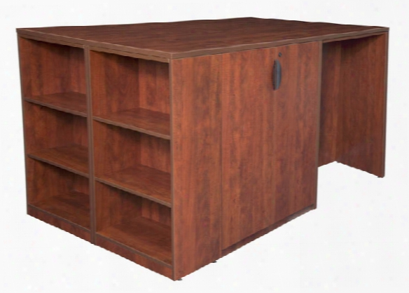 Stand Up Desk/ 3 Storage Cabinet Quad With Bookcase End By Regency Furniture