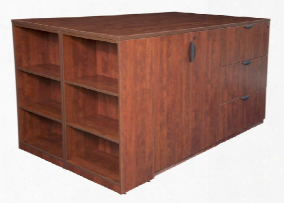 Stand Up Storage Cabinet/ 3 Lateral File Quad With Bookcase End By Regency Furniture