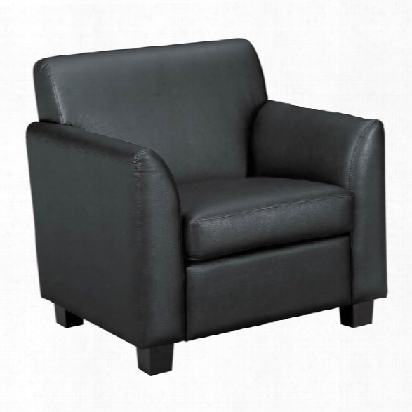 Tailored Black Leather Club Chair By Hon