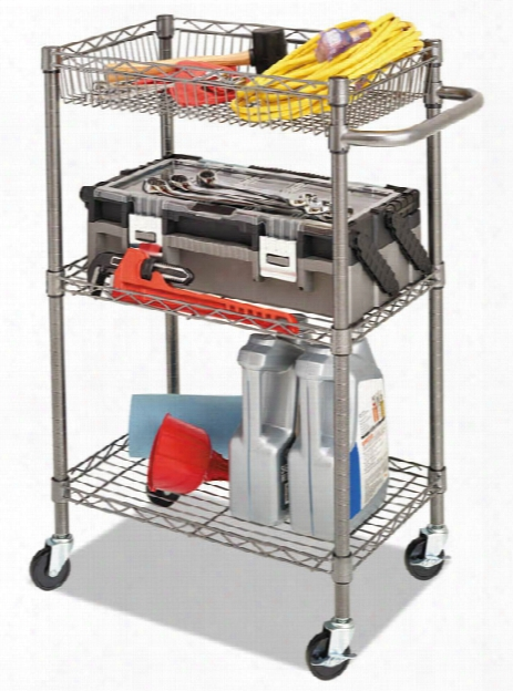 Three-tier Wire Rolling Cart By Alera
