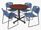 "36"" Round Breakroom Table- Cherry & 4 Zeng Stack Chairs by Regency Furniture"