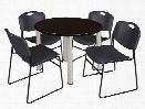 "36"" Round Breakroom Table- Mocha Walnut/ Chrome & 4 Zeng Stack Chairs by Regency Furniture"