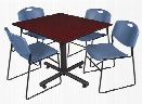 "48"" Square Breakroom Table- Mahogany & 4 Zeng Stack Chairs by Regency Furniture"