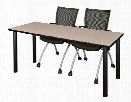 "60"" x 24"" Training Table- Beige/ Black & 2 Apprentice Chairs- Black by Regency Furniture"