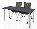 """66"""" x 24"""" Training Table- Gray/ Chrome & 2 Apprentice Chairs- Black by Regency Furniture"""