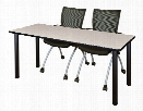 "66"" x 24"" Training Table- Maple/ Black & 2 Apprentice Chairs- Black by Regency Furniture"
