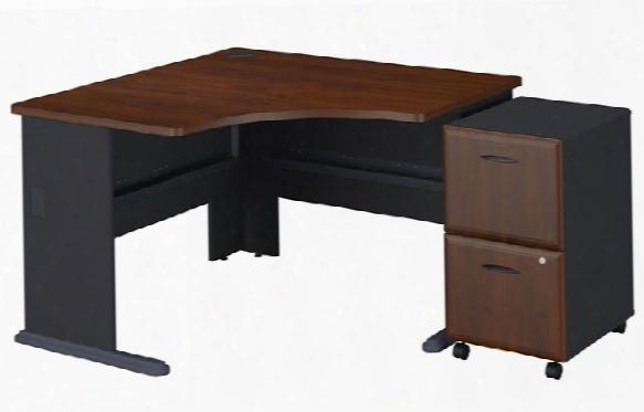 "48"" Corner Desk With 2 Drawer File By Bush"