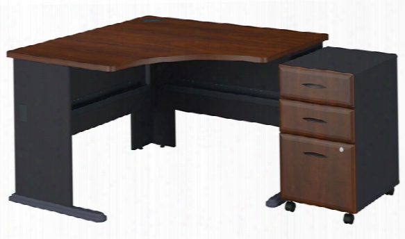 "48"" Corner Desk With 3 Drawer File By Bush"