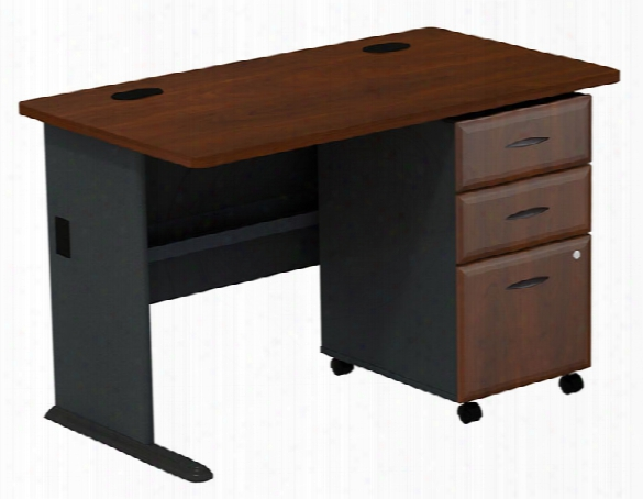 "48"" Desk With 3 Drawer File By Bush"