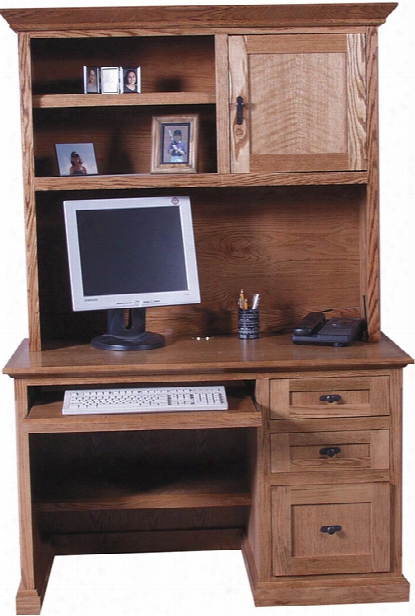"48"" Mission Wood Computer Desk With Hutch By Forest Designs"