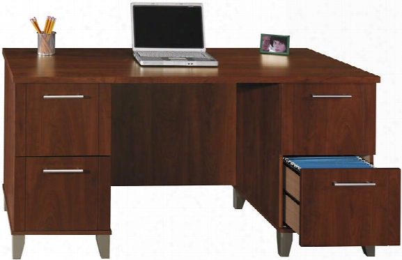"60"" Double Pedestal Desk By Bush"