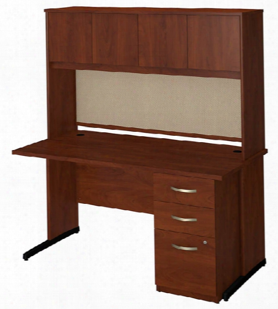 "60""w X 30""d C Leg Desk With Hutch And Storage By Bush"