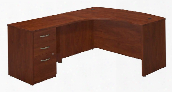 """60""""w X 43""""d Left Hand L-desk With Return And 3 Drawer Pedestal By Bush"""