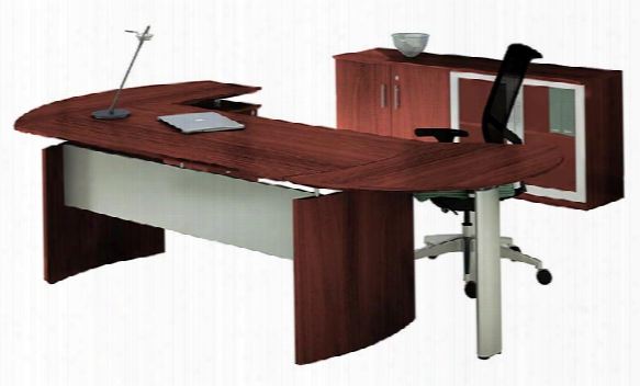 "63"" Desk With Return And Low Wall Cabinet By Maylline Office Furniture"