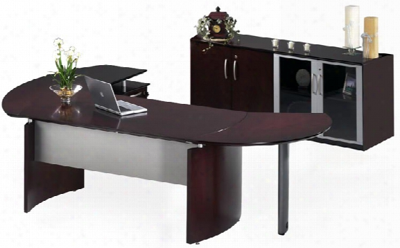 "63"" Napoli Desk With Return And Extension And Additional Storage By Mayline Office Furniture"
