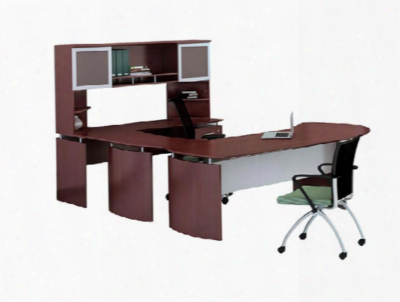 "63"" U Shaped Desk With Extension And Hutch By Mayline Office Furniture"