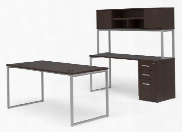 """66"""" Desk With Credenza And Hutch Set By Ofm"""