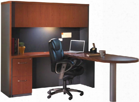 "66"" X 84"" L Shaped Peninsuka Desk With Hutch By Mayline Office Furniture"