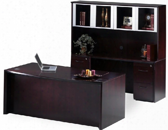 """72"""" Bow Front Desk And Credenza With Hutch By Mayline Office Furniture"""
