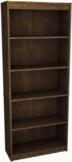 "72"" Chocolate Bookcase With 5 Shelves By Bestar"
