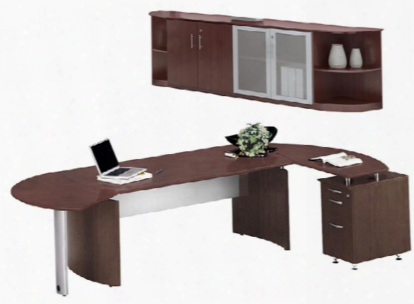 "72"" Desk With Return And Low Wall Cabinet By Mayline Office Furniture"