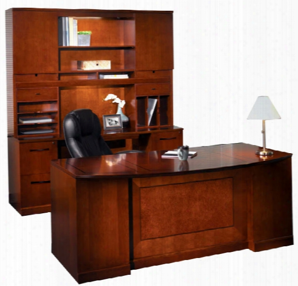 "72"" Double Pedestal Bow Front Desk And Credenza With Chest By Mayline Office Furniture"