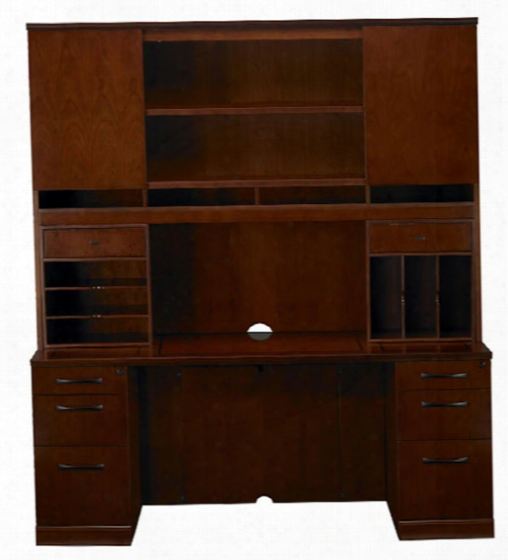 "72"" Double Pedestal Credenza With Hutch By Mayline Office Furnitur"