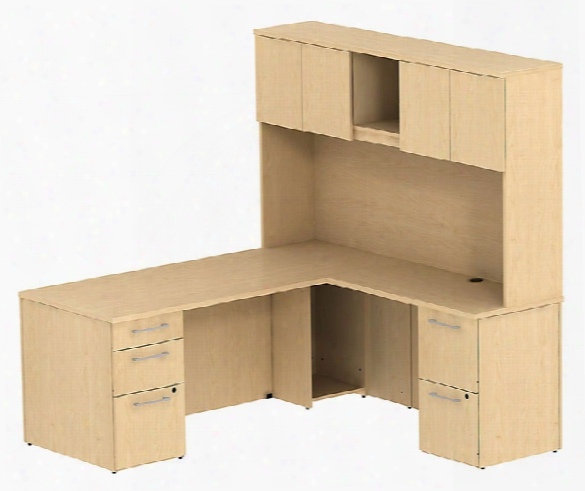 "72"" L Shaped Desk With Hutch By Bush"