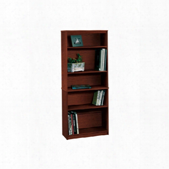 """72"""" Tuscany Brown Bookcase With 5 Shelves By Bestar"""