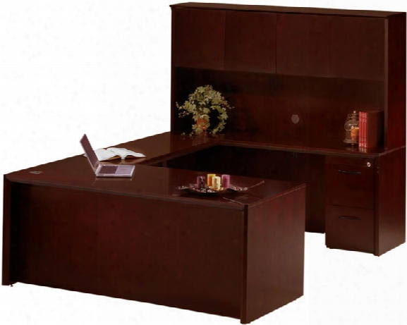"72"" U Shaped Desk With Hutch By Mayline Office Furniture"