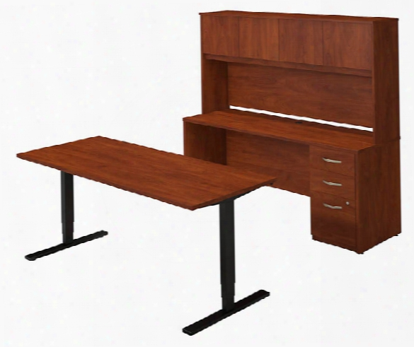 """72""""w Height Adjustable Standing Desk With Credenza And Hutch By Bush"""