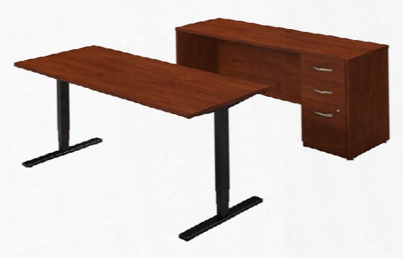 "72""w Height Adjustable Standing Desk With Credenza By Bush"