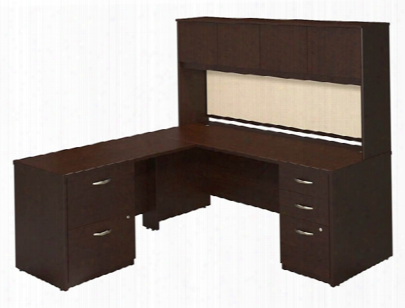 "72""w X 30""d Desk Shell With 48""w Return, Hutch And Storage By Bush"