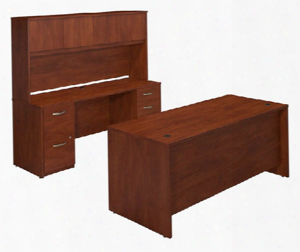 "72""w X 30""d Desk Shell With Credenza And Storage By Bush"