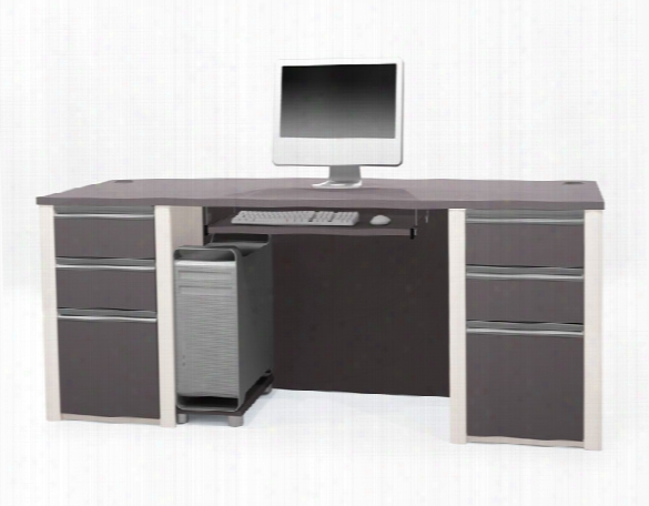 Bow Front Double Pedestal Executive Desk 93850 By Bestar